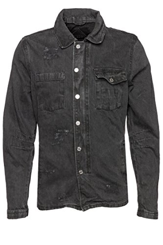 BE EDGY BEtoby D - Giacca in Jeans da Uomo, Taglia XXL, Colore: Nero