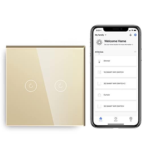 BSEED Interruptor de Sensor Táctil WIFI Inteligente (Se Requiere Línea Neutra) Alexa y Google Home Work con Tuya Para Interruptores de Luz de Pared con Placa de Cristal Negro 2 Gang 1 Vía Oro