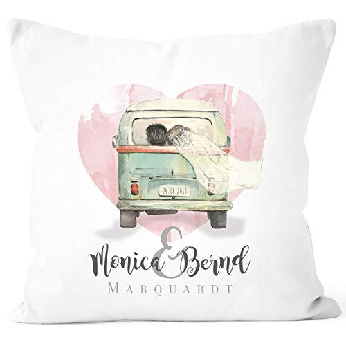 SpecialMe® Personalisierbares Kissen zur Hochzeit, Hochzeitskissen Camping Van Bus Hochzeitsgeschenk, Kissenhülle weiß Unisize