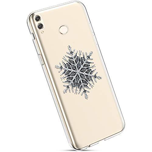 Ysimee Coque Compatible avec Huawei Honor 8C Transparent Étui avec Motif Noël Christmas Housse en Silicone Souple Antichoc Ultra Mince et Léger Crystal Clear Gel Téléphone Couverture,Flocon Neige Noir