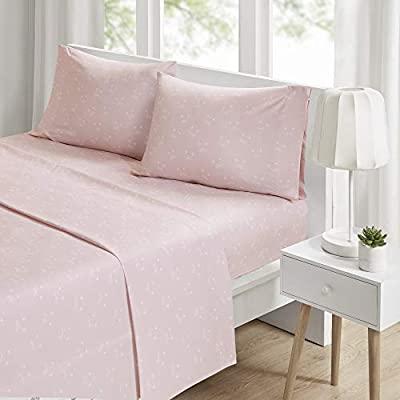"""Intelligent Design Microfiber Wrinkle Resistant, Soft Sheets with 12"""" Pocket Modern, All Season, Cozy Bedding-Set, Matching Pillow Case, Queen, Novelty Pink Cats"""