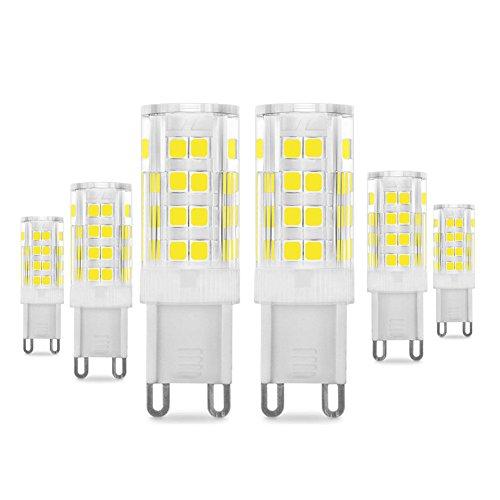 G9 LED Lampadina 5W, Pursnic 400LM Equivalente 40W Lampada Alogena, Lampade LED Bianco Freddo 6000K, AC 200-240V, Senza Flicker, Angolo di 360 Gradi, CRI> 83, Lampadina a LED G9, Confezione da 6