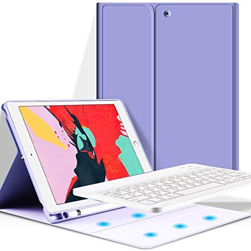 KenKe iPad 9.7 inch 2018 iPad (6th Gen) / 2017 iPad (5th Gen) iPad Air 1 2 Keyboard Case with Pencil Holder Auto Sleep/Wake with Detachable Bluetooth Keyboard Cover iPad 5th/6th Generation - Purple