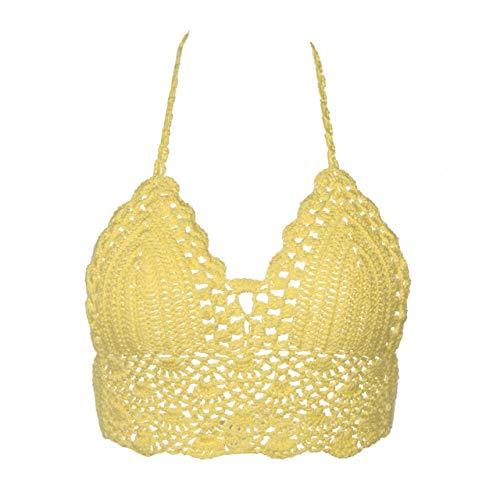 sakkdaull 3pcs Bra f Bra Fashion Fashion Bikini Crop Top Crochet Boho Beach Bralette Yellow M