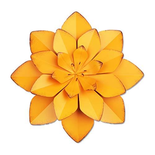 YiYa 33CM Decoración de Pared de Flores de Metal Múltiples Capas Arte de Pared de Flores Decoraciones de Arte de Pared Colgante para balcón Patio Porche Dormitorio Sala de Estar Jardín (Naranj