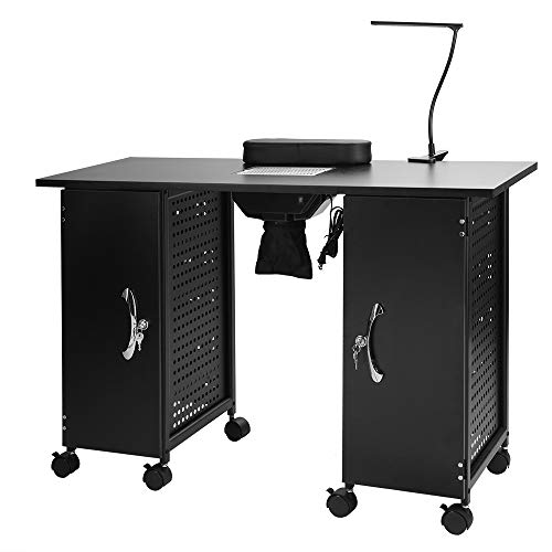 Mefeir Manicure Table Iron Frame, Nail Beauty Spa Salon Desk Workstation with Electric Downdraft Vent, Wrist Rest, Cabinets, Casters and Clip-On LED Lamp, Black (43.3
