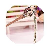 ヴィンテージ最高品質のヘアスティックピック天然木製サンダルウッド手作りエスニックヘアピン中国風ヘアピン花タッセル、07