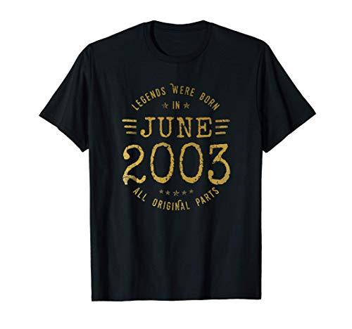 18 años Cumpleaños - Las Leyendas nacen en Junio de 2003 Camiseta