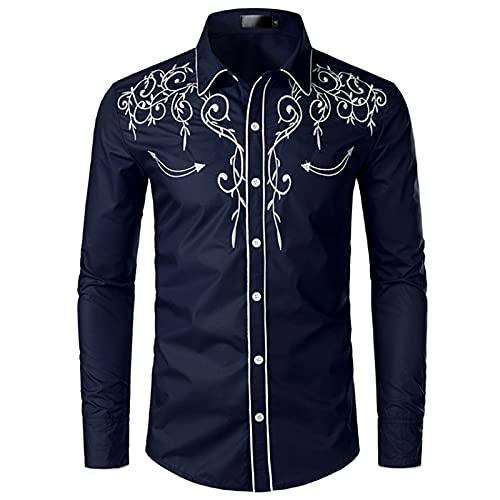 NW Camisa de vaquero occidental para hombre con estilo bordado slim fit casual manga larga camisas para hombre de boda fiesta camisa, azul marino, XL