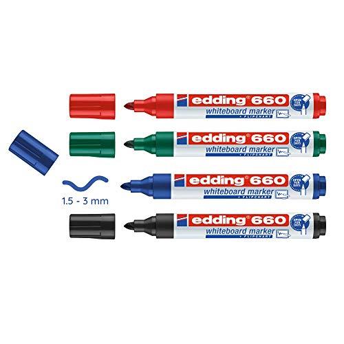edding 660-4-S - Marcador para pizarra blanca, 4 unidades, colores negro, rojo, verde y azul