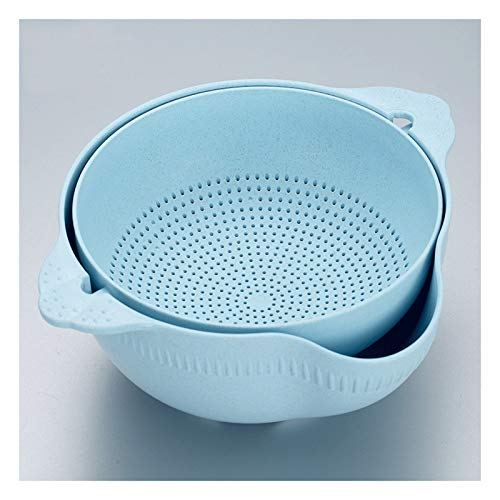 Strainers and Colanders Pasta Double-layer Rotating Drain Basket 2-in-1 Detachable Kitchen Colander/filter Bowl Round Fruit Basket with Hook for Cleaning Vegetables and Noodles Colanders & Food Strain