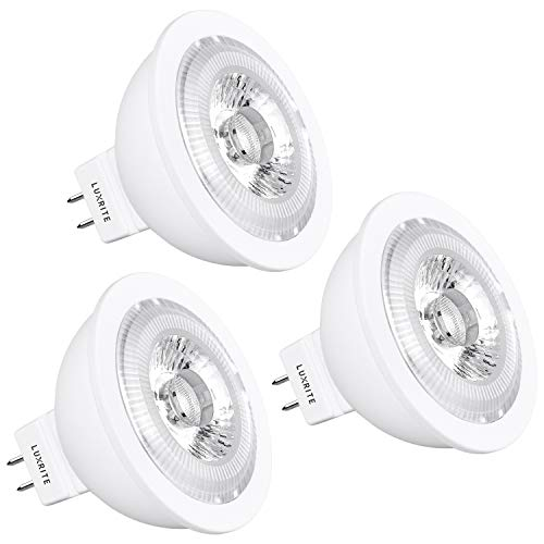 Luxrite MR16 LED Bulb Dimmable, 12V, 50W Equivalent, 2700K Warm White, 500 Lumens, 7W LED Spotlight Bulb, 25 Degree, Damp Rated & UL Listed, GU5.3 Bi-Pin Base - Home and Track Lighting (3 Pack)