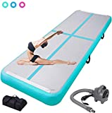 ChampionPlus 10ft 13ft 16ft 20ft Air Track Tumbling Mat Inflatable Gymnastics Mat 4/8 inches Thickness Airtrack Tumbling Mats for Home Training Cheerleading Yoga with Air Pump Mint Green 13'x3.3'x4'' -  CHAMPIONSPORTS