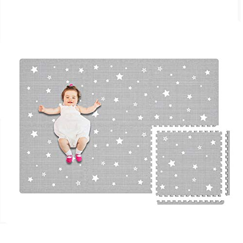 Extra Large Baby Play Mat  4FT x 6FT NonToxic Foam Puzzle Floor Mat for Kids amp Toddlers Grey/White Star