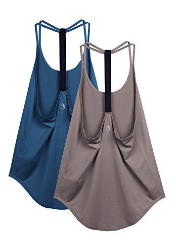 icyzone - Camiseta de tirantes para mujer, diseño atlético de yoga, parte trasera en T (paquete de 2),  Sombras azules y malvas., L