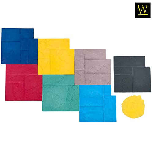 Ashler Notched Slate Concrete Stamp Set by Walttools | Decorative Tile Pattern Polyurethane Texturing Mats, Sturdy, Realistic Detail (8 Piece)