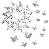 Adesivo da parete a forma di fiore del sole, 3D, con farfalla di lusso, autoadesivo, decorazione per la casa, in acrilico, rimovibile, per soggiorno, camera da letto, TV sfondo specchio (argento)