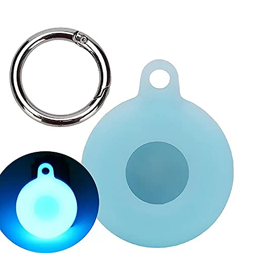 QLTYPRI Compatible with AirTag Case Protective Bumper Case with Loop Keychain Ring Holder for Air Tags - Silicone Waterproof Protector AirCovered Compatible for AirTag (2021) - Glow Blue