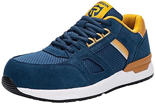 LARNMERN Zapatos de Seguridad Hombre Mujer Ligero Zapatillas Seguridad Punta de Acero Calzado Seguridad Deportivo SRC Antideslizante S1 Zapatillas de Trabajo Transpirable Comodo(Azul,40EU)