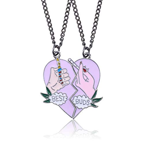 SHUX Halsketten Beste Freunde für Immer Schwester Anhänger Halskette FrauenLiebe HerzKaffeetasse HalskettenAnhänger Paar, Feuerzeug Zigarette,