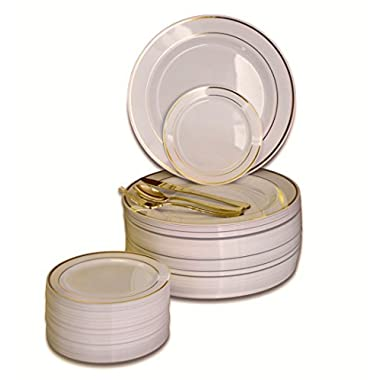 OCCASIONS 300 PCS/60 GUEST Wedding Disposable Plastic Plate and Silverware Combo Set, (Ivory/Gold Rim plates, Gold silverware) …