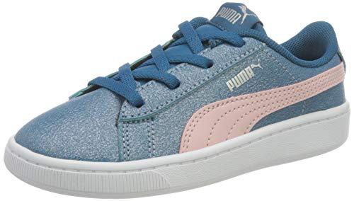 PUMA Baby-Mädchen Vikky v2 Glitz 2 AC Inf Sneaker, Digi-Blue-Peachskin Silver, 23 EU