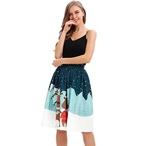 BeetleNew Jupe de Danse pour Femme Imprimé élan Ourson Mini Jupe plissée évasée Taille Haute Élastique Robe de fête de Noël Tutu Fantaisie Cadeau de Noël - Multicolore - XL