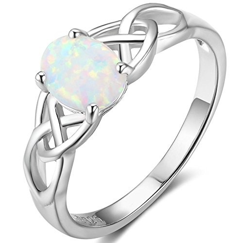 925 Sterling Silver Celtic Knot Heart Shaped Fire Opal Wedding Engagement Ring (Silver-Knotted Oval Stone, 7)