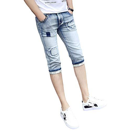 Pantalones Cortos de Mezclilla para Hombre, sección Delgada de Verano, Pantalones Cortos de Mezclilla nuevos y Atractivos, Pantalones Cortos elásticos Rasgados con Personalidad Simple 29