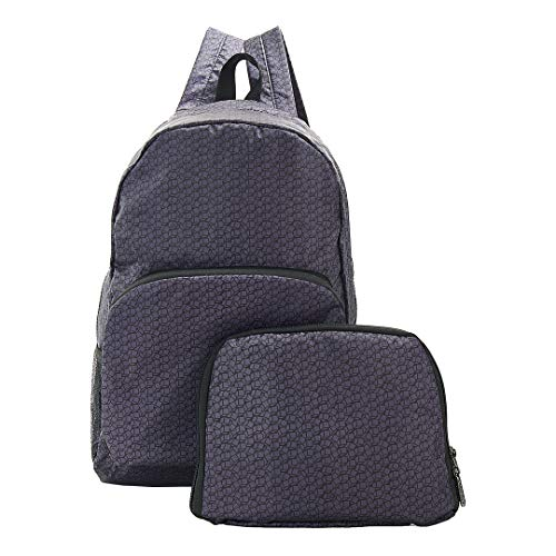 Eco Chic Foldable Expandable Backpack 100% RPET Material Disrupted Cubes Black