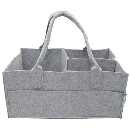 Baby Diaper Caddy Organizer - Portable Large Diaper Caddy Tote - Car Travel Bag - Nursery Diaper Caddy Storage Bin - Gray Felt Basket Infant Girl Boy for Kids - Newborn Registry Must Have