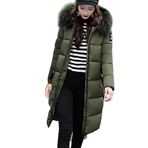 Damen Winterjacke Lange Parka Jacke Winter Daunen Mantel Mit Fellkapuze Steppjacke Steppmantel Wintermantel Gefüttert Parka (Armeegrün, 42)