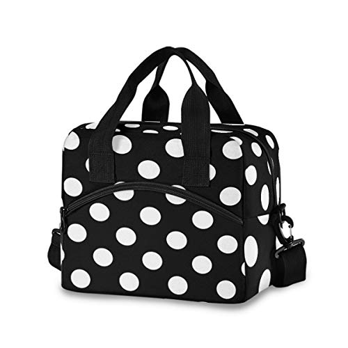 White Polka Dot With Black Lunch Bags for Women Lunch Tote Bag Lunch Box Water-resistant Thermal Cooler Bag Lunch Organizer for Working Picnic Beach Sporting