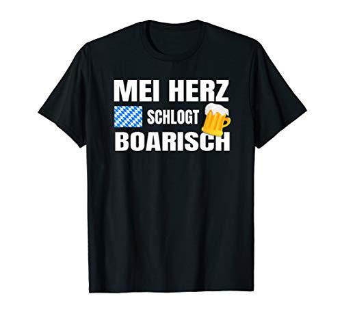 Geschenk für Bayer mit dem Mei Herz schlogt Boarisch T-Shirt