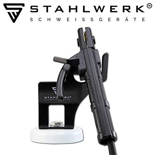 STAHLWERK Elektrodenzangen-Halterung mit magnetischem Standfuß, universeler Brennerhalter für ARC/MMA/E-Hand, schwarz