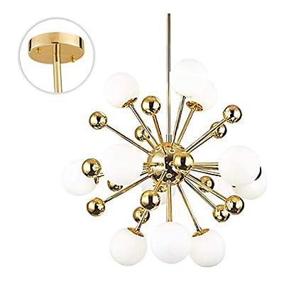 BOKT Modern Chandelier Mid-Century 11 Lights Gold Sputnik Pendant Lighting Industrial Ceiling Light Fixture for Kitchen Dining Room Living Room (11-Lights)