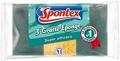 SPONTEX Gratte-Eponge Super efficace, 3 éponges parent