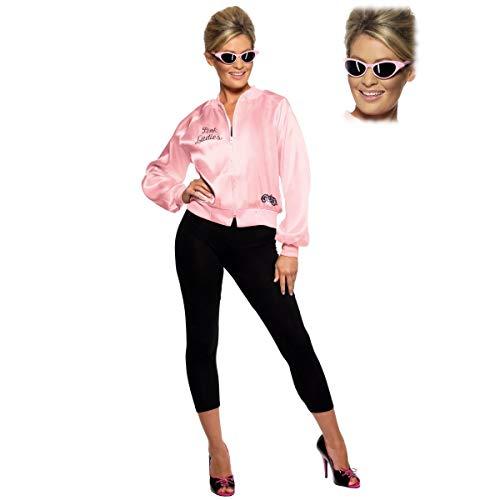 Pink Ladies Official Licensed Grease Jacket + Sunglasses S (UK: 8-10)