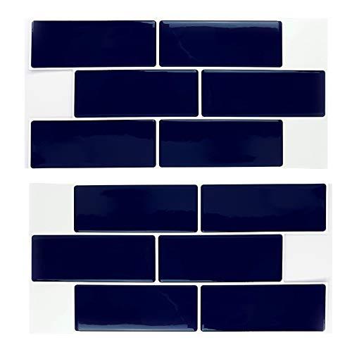 Carrelage Autocollant Métro 3D Brillant Bleu Profond 30cmx15cm Mosaïques Murales Contemporaines Peel and Stick Dosseret Auto-adhésif Effet Verre Décoration de salle de bain, DIY Décor de cuisine
