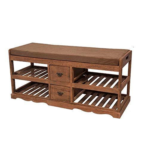 HXR schoenen gemaakt van massief hout, zitbank, schoenenkast, schoenenrek, moderne schoenen, eenvoudige tuinbank, schoenenbank, sofa of bank (kleur: oudgrijs)