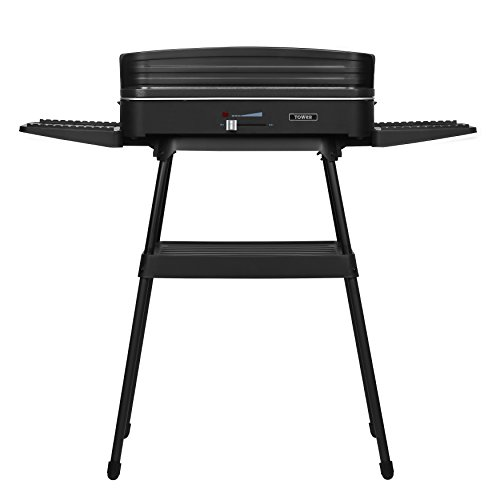 Tower Electric Indoor and Outdoor Party BBQ Grill with Easy Clean Non- Stick Coated Aluminum Grill Plate, Adjustable Thermostat Control, Windshield and Stand, 2200 W, Black