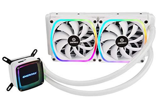 ENERMAX AQUAFUSION Snow Edition Adressierbare SquA RGB 240 All-In-One CPU Wasserkühler Dual Chamber Intel/AMD AM4 Support 350W+ TDP (2x 12cm SquA White RGB PWM Lüfter); ELC-AQF240-SQA-W weiss