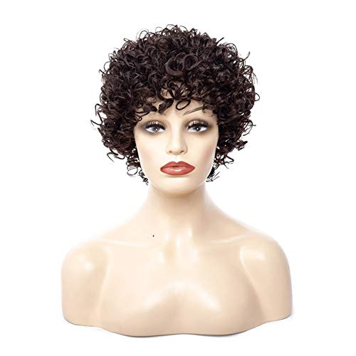 Madong Europe Perruque Petit rouleau Perruque Cheveux courts Madame Afrique