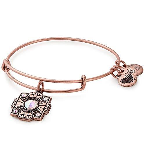 Alex and Ani Women's Bride Bangle Bracelet, Rafaelian Antique Rose, Expandable