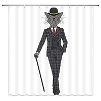 灰色の猫持株松葉杖ヒップスターのようにドレスアップ浴室の窓の装飾のための生地のホックが付いているポリエステル防水シャワー・カーテン60X72in
