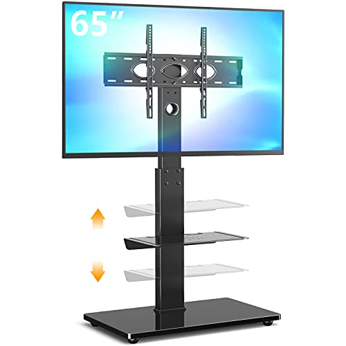 5Rcom Swivel TV Floor Stand with Mount for 32 37 43 50 55 60 65 inch Plasma LCD LED Flat or Curved Screen TVs, Tall TV Stand Mount, Height Adjustable and Space Saving for Bedroom/Living Room