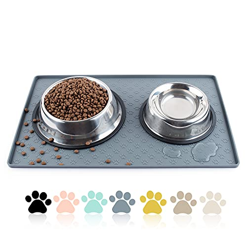 Coomazy Cat & Dog Feeding Mat, Sillicone Waterproof Pet Bowl Placement Tray...
