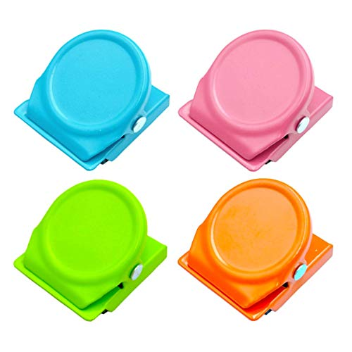 Mi Metty Magnetic Clips, 4 Pack Metal Clips, Refrigerator Whiteboard Wall Magnetic Memo Note Clip,Colored Magnetic Metal Clips for Clipping Photos,Pictures.Set of 4 in 4 Pack (Multicolor)