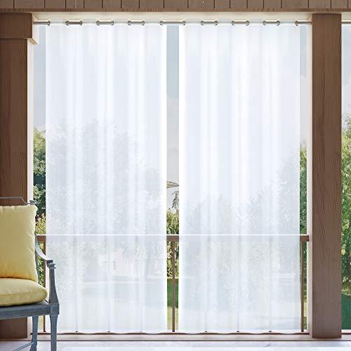 Clothink Outdoor Vorhang 132x245cm mit Ösen Transparent Weiss(1 Stück)- mit Raffhalter - Wasserabweisend Schmutzabweisend Blickdicht Sonnenschutz Sichtschutz für Veranda Terrasse Balkon