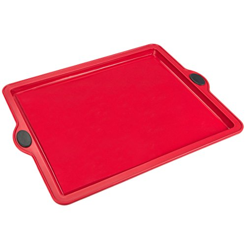 Levivo Silikon Backform Rechteck, Silikonbackform für Blechkuchen & Pizza, Kuchenform 31.5 x 25.5 cm, Antihaft Kastenform Kuchen, Form Rot